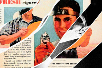 A collage of old cigarette ads