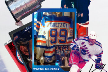 A collage of Wayne Gretzky merchandise
