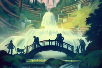 An illustration of silhouetted people walking along a bridge over flowing water.
