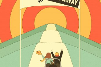 "Illustration of two figures in a car, driving toward a cartoon sunset and a sign that reads, ""Welcome to / Stay away"""