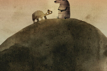 An illustration of two animals sitting together on a big rock. They both wear small hats.