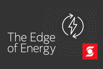 Podcast graphic on a dark grey background with the words The Edge of Energy written in white font and the Scotiabank logo in the bottom left corner.