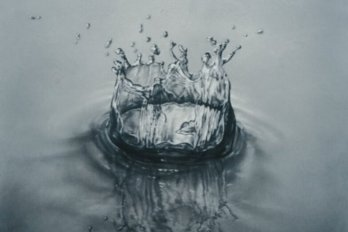 water splashes on the surface