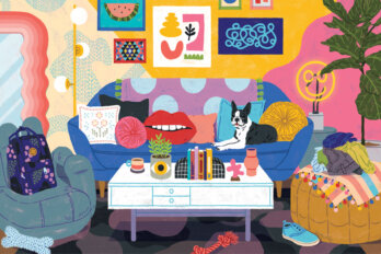 Illustration of a colourful maximalist living room, including bright graphic posters, and coffee table covered with books and plants, and a French Bulldog sitting on a couch with a polka dot throw blanket.