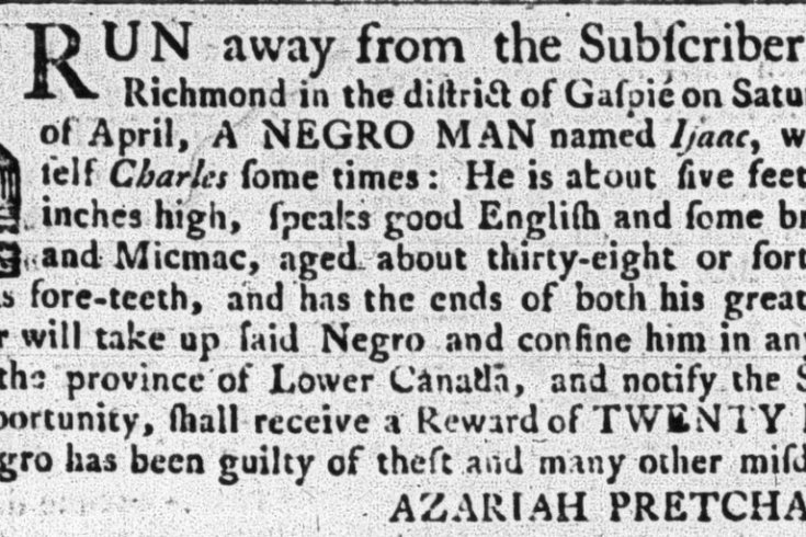 A fugitive slave ad that appeared in the Quebec Gazette.