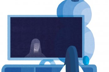 Illustration of person watching TV with giant plant in the background