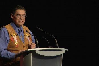 Video still of Lewis Cardinal from The Walrus Talks Aboriginal City