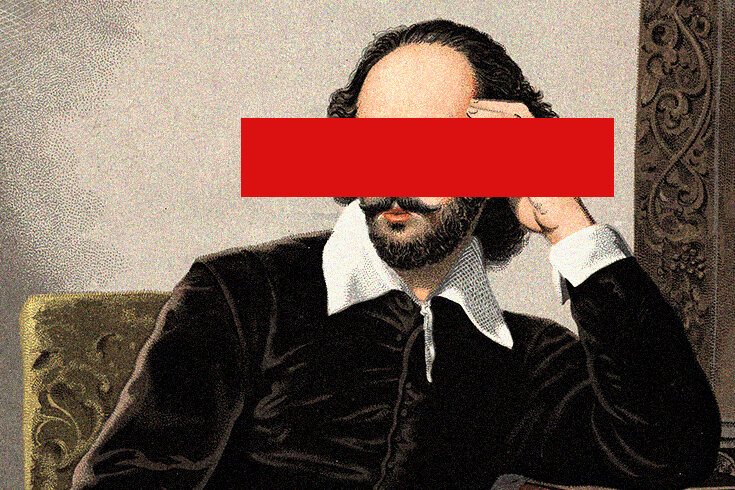 A portrait of Shakespeare with eyes redacted