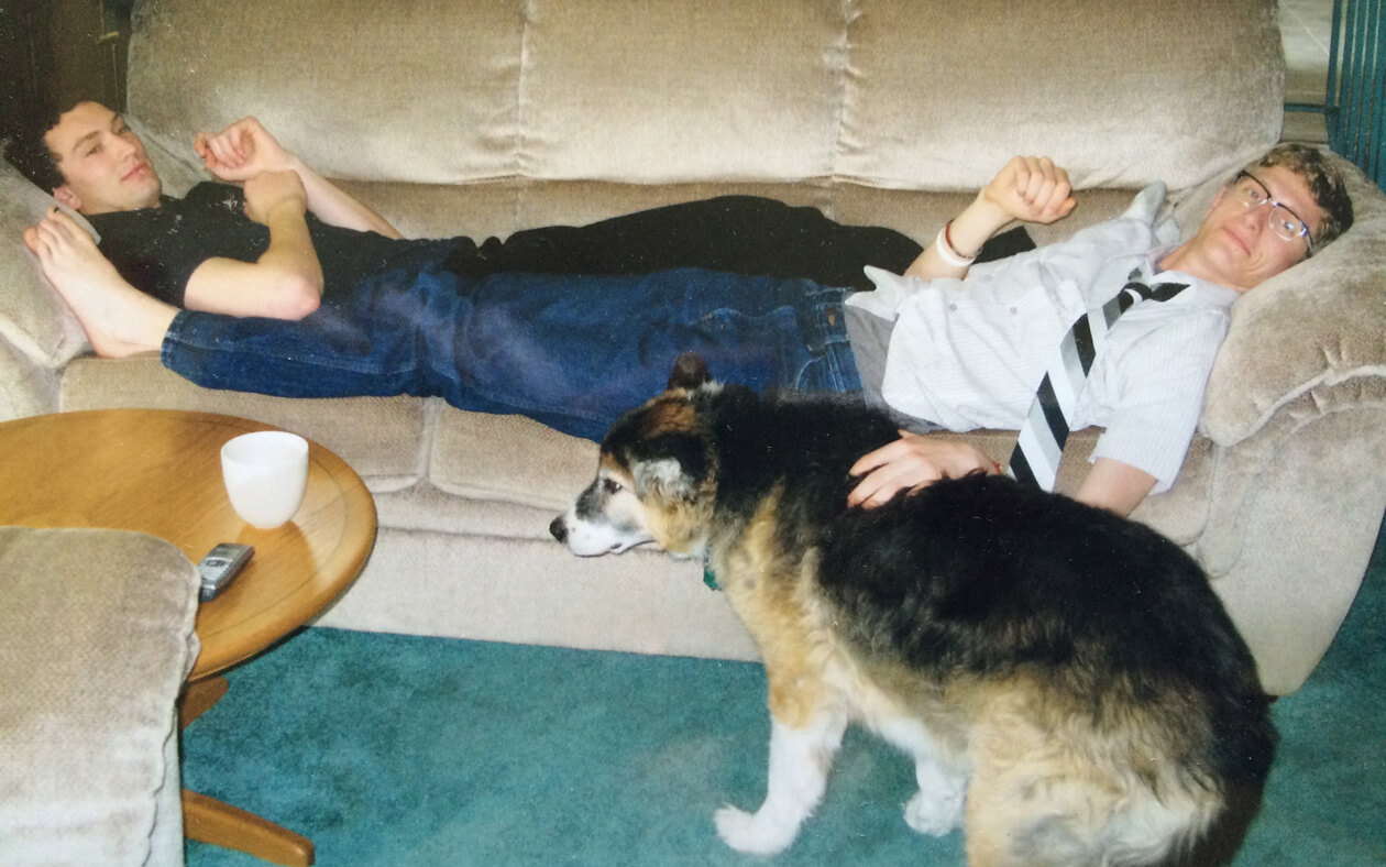The author (right) with his brother and their dog, Buddy.