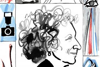 An illustration of the writer, Margaret Atwood, in profile. She is facing the right and has a halo of wild, curly hair.