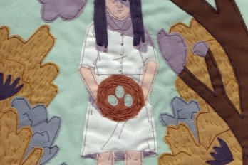 A girl standing beneath a tree holding a nest with three blue eggs still inside. The image is stitched as if into a quilt.