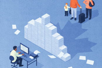An illustration of a person typing at a desk and a family with luggage. In between them is a stack of paperwork, which leaves a Canadian maple leaf shadow.