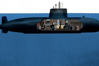submarine with people visible inside it