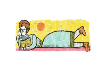 A drawing of a person laying on a bed