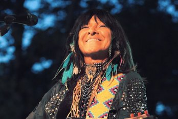Buffy Sainte-Marie performing in Central Park for Summerfest.