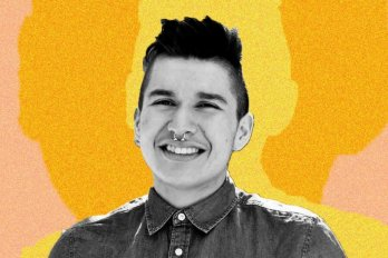 Billy-Ray Belcourt in front of yellow background