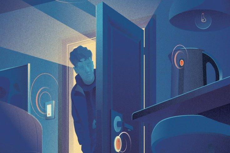 Man peering inside bedroom as electronics resonate