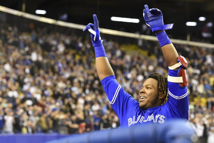 Vladimir Guerrero Jr. saluting the crowd at the Rogers Centre