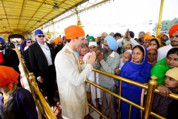 Prime Minister Justin Trudeau visits the Golden Temple in Amritsar, India in late February 2018