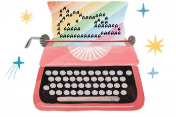 A typewriter with rainbow paper illustrating a man in a lounging position.