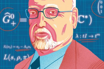Illustration of a math professor on a blue background with white stylized formulas over him.