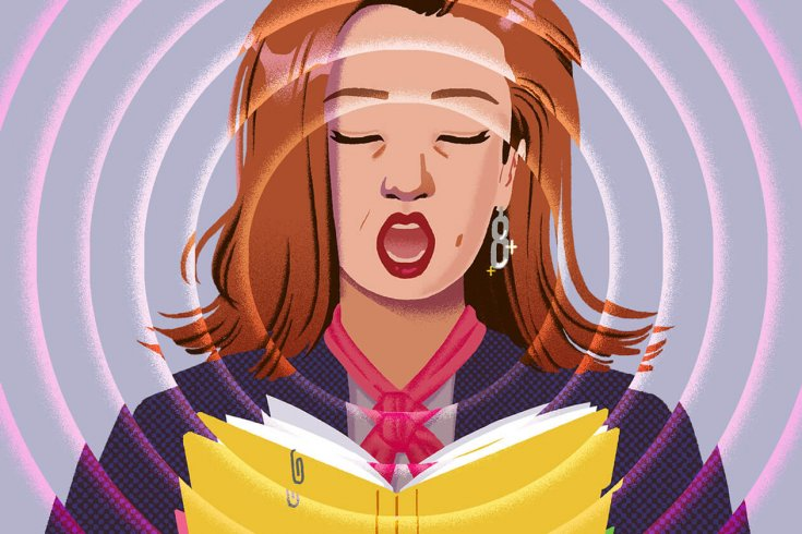 woman with one earring sings from a choirbook