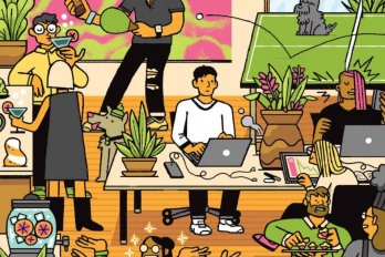 Illustration of chaotic shared office space