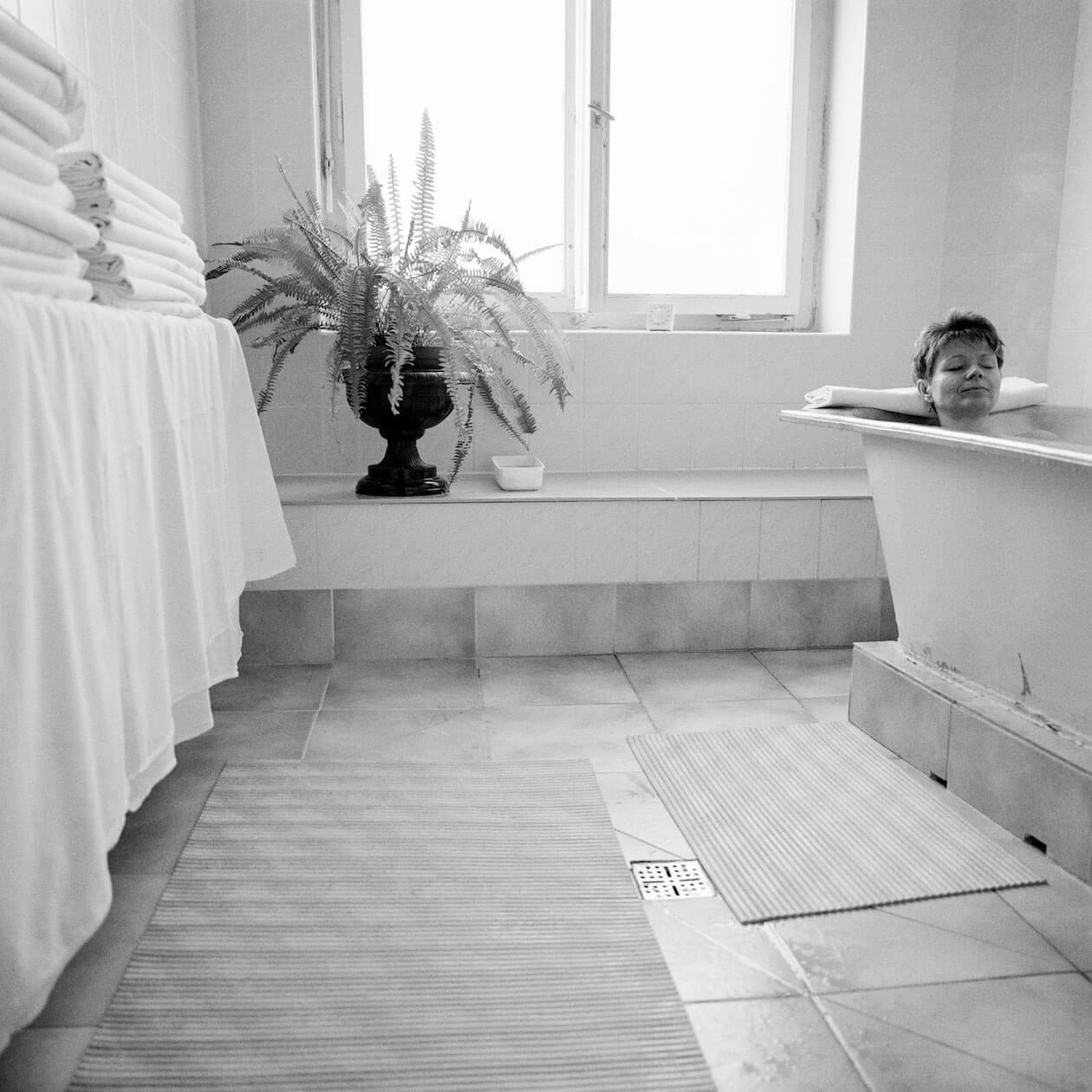 Woman in mineral bath