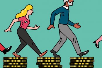 two people walking on stacked coins