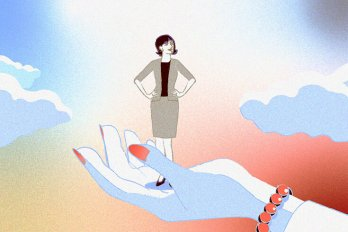 Illustration of a woman in a suit, her hands on her hips, standing in the palm of a large hand with nail polish. She's standing against a blue and pink sky with clouds.