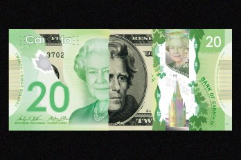 A collage of american and canadian dollar bills