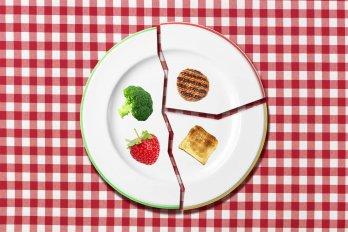 Broken plate with different foods on each piece