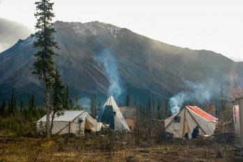 Photograph of camp in the Mackenzie mountain range