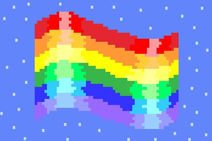 Rainbow LGBTQ flag in 8-bit pixel style