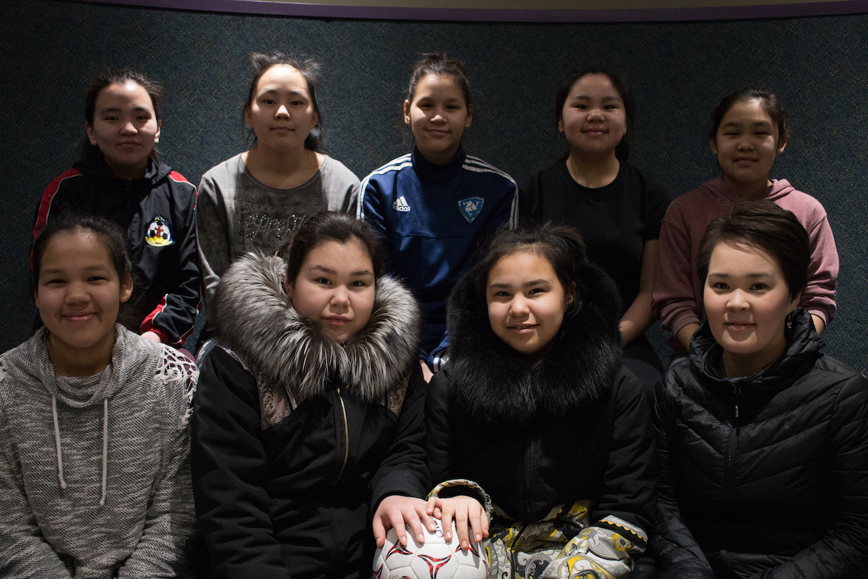 A girls' soccer team.