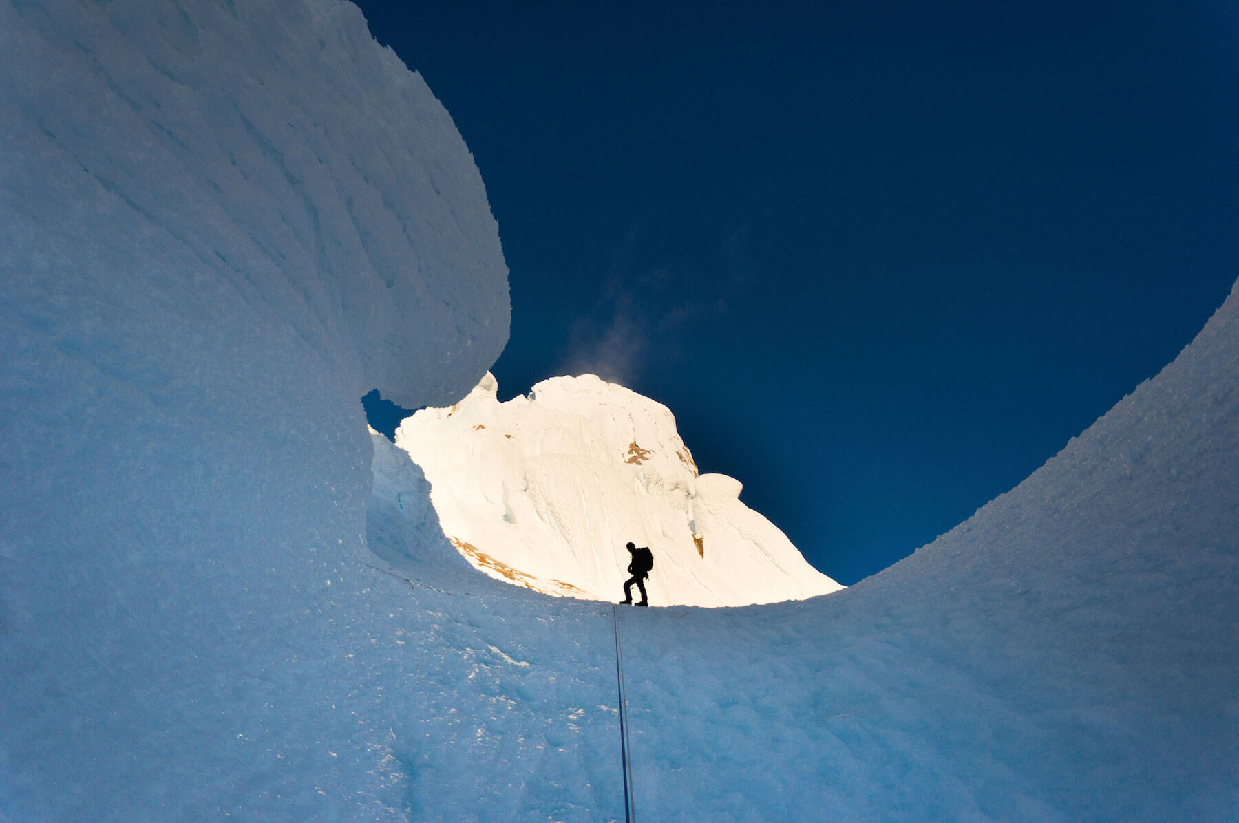 Chris Willie climbing in the Cerro Torre mountain