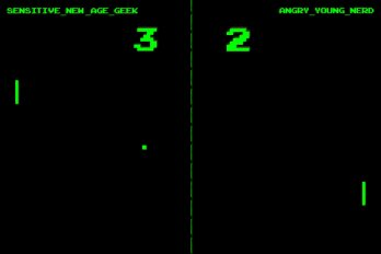 "Illustration of a Pong Game Between ""New Age Geek"" and ""Angry Young Nerd"""
