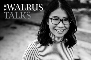 Black and white photo of Ann Hui with the logo for The Walrus Talks.