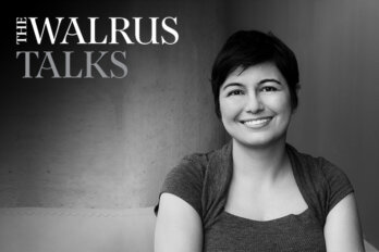 Black and white photo of Zeyne Arsel with a logo for The Walrus Talks.