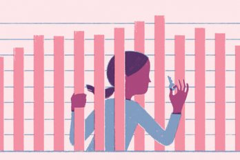 An illustration of a woman stuck behind the bars in a financial graph.