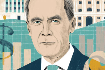 Illustration of Mark Carney against illustrations of the Bank of Canada, the Bank of England, money signs, bar graphs, and pie charts in navy, teal and yellow hues.