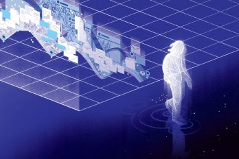 Illustration of a ghostly figure walking off a white grid and into darkness. Behind the person is a ghostly collage of all the data they've left behind––photos, passwords, location pins, emails, and text messages. The background is midnight blue.