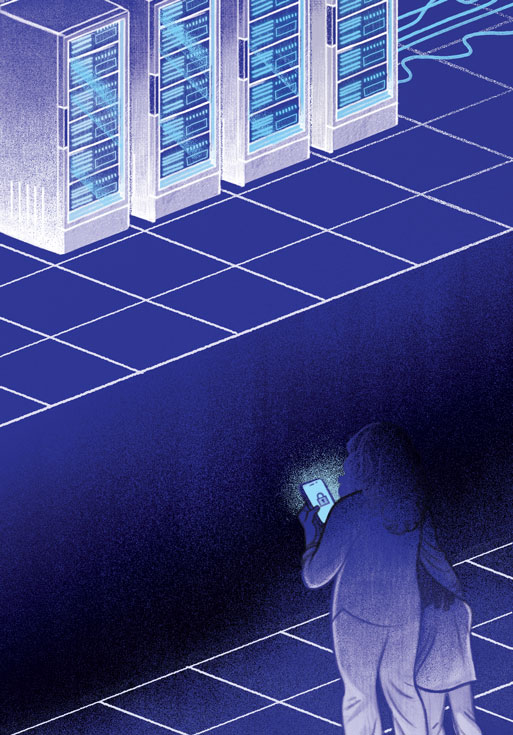 Illustration of a woman with her hand on a child's shoulder, holding a locked phone. They stand on a white grid. Across a gap, on another white grid floor, are large banks of data. The floor and colour scheme are midnight blue.