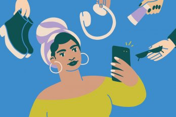 Illustration of a woman in a head wrap and hoop earrings, holding a phone up to take a selfie. Around her are hands offering free products––boots, headphones, sunglasses, and a tube of cream.