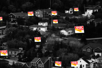 """A group of houses in a small town with """"for sale"""" signs"""