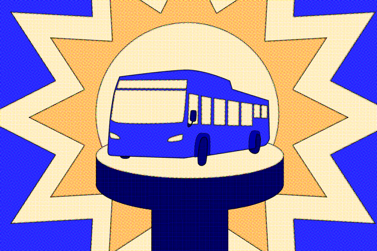 Illustration of a public transit bus on a pedestal. The color scheme is blue, yellow, and orange.