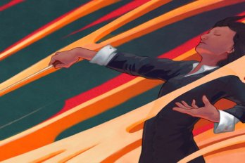 conductor waving her baton