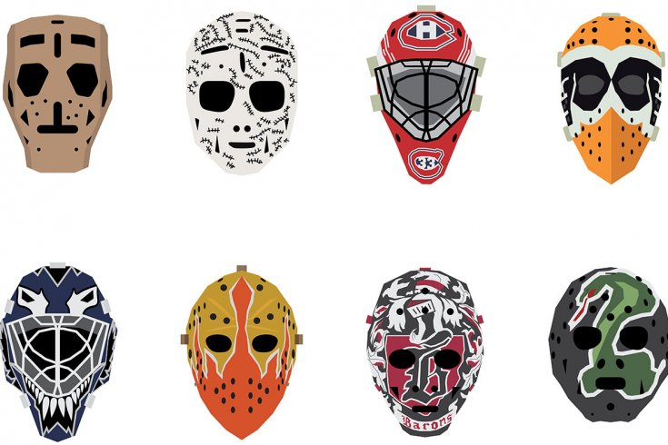 Different drawings of hockey masks