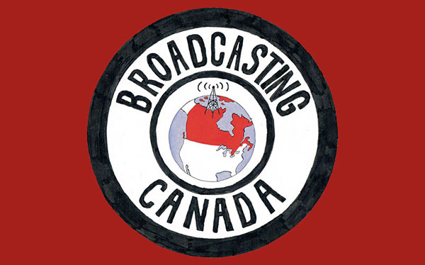 "A logo that says ""Broadcasting Canada"" with a satellite on Canada in the middle"