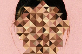 A woman's head against a pink background. Her face is obscured by a mosaic of various flesh-coloured tones.